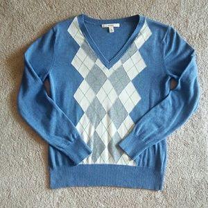 Cornflower Blue Argyle Lightweight Sweater Sz Med